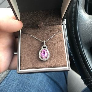 Sterling silver necklace with Pink Sapphire